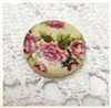 "Floral Decorated Wooden Buttons - 5/8"" Set of 6"