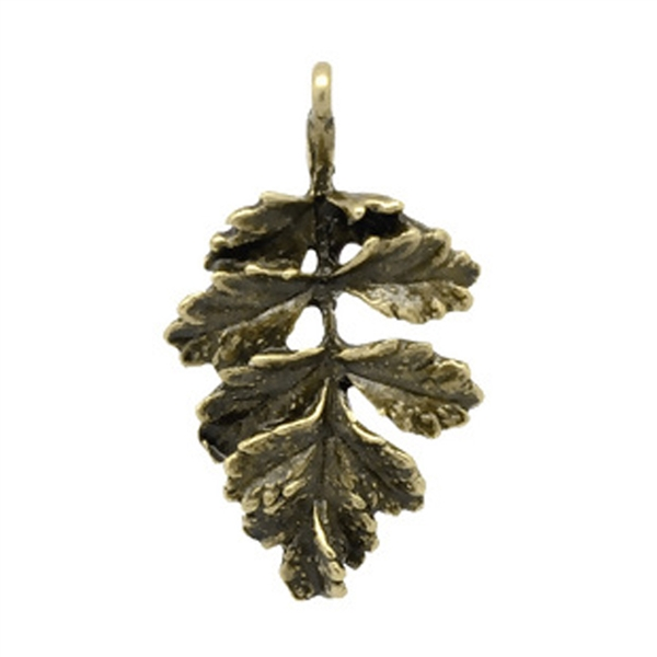 Antique Bronze Leaf Charms - Set of 5
