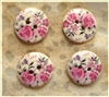 Floral Decorated Wooden Buttons - 18mm