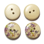 Floral Decorated Wooden Buttons - 5/8""