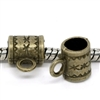 5 Piece Antiqued Bronze Tone Barrel Beads