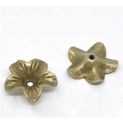 Bronze Flower Beads - Set of 5