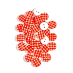 Red Gingham Buttons - 13mm, Set of 10