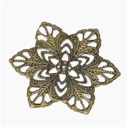 Antique Bronze Flower Filigree Pieces - Set of 6