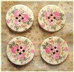 Floral Decorated Wooden Buttons - 1.18""
