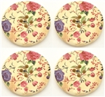 Painted Floral Wooden Buttons - 1.18""