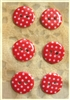 Red Patterned Resin Buttons - 15mm - Set of 6