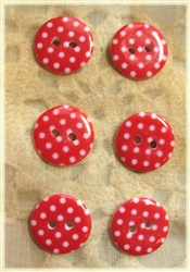 Red Patterned Resin Buttons - 15mm