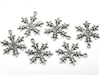 Antiqued Silver Snowflake Charms - Set of 6
