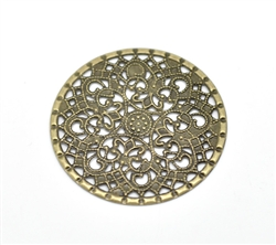 Antiqued Bronze Round Filigree Pieces - Set of 4