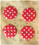 Red Patterned Resin Buttons - 18mm Set of 4