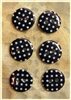 Black Patterned Resin Buttons - 15mm Set of 6