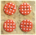 Orange Patterned Resin Buttons - 18mm Set of 4