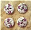 "Floral Decorated Wooden Buttons - 3/4"" Set of 4"