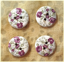 Floral Decorated Wooden Buttons - 3/4""