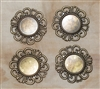 4 Piece Antiqued Round Antiqued Bronze Filigree Pieces - 36mm