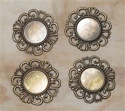 Round Antiqued Bronze Filigree Pieces - 36mm - Set of 4
