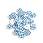 Blue Gingham Buttons - 13mm, Set of 10