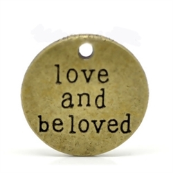 "Antique Bronze ""love and be loved"" Message Charms - set of 4"