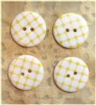 Yellow Patterned Resin Buttons - 23mm Set of 4