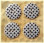 Black Patterned Resin Buttons - 23mm