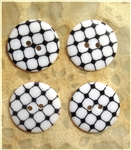 Black Patterned Resin Buttons - 23mm - Set of 4