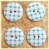 Aqua Patterned Resin Buttons - 23mm Set of 4