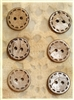 "Carved Coconut Shell Buttons - 5/8"" Set of 6"
