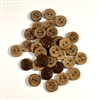 Carved Coconut Shell Buttons - 15mm, Set of 6