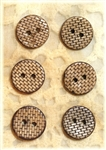 "Carved Coconut Shell Buttons - 5/8"" - Set of 6"