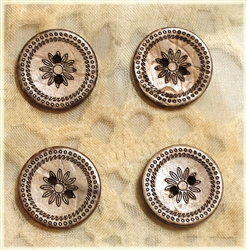Carved Coconut Shell Buttons - 18mm