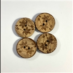 "Carved Coconut Shell Buttons - 7/8""  Set of 4"