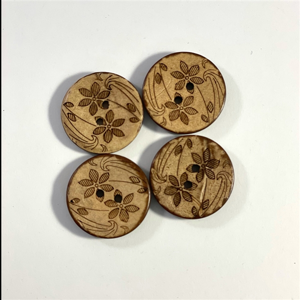 Carved Coconut Shell Buttons - 7/8""