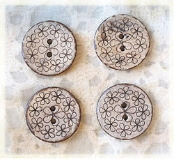 Carved Coconut Shell Buttons - 23mm