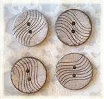 Carved Coconut Shell Buttons - 23mm Set of 4