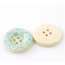 Floral Decorated Wooden Buttons - 1""