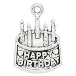 Antique Silver Birthday Cake Charms - Set of 5