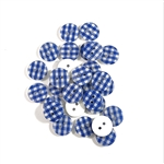 Deep Blue Gingham Buttons - 13mm, Set of 10