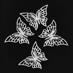 Silver Tone Butterfly - Set of 4