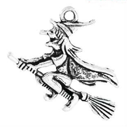 Charm Pendant - Set of 3 Silvertone Witch on Broomstick