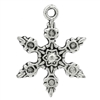 Antiqued Silver Tone Snowflake Charms - Set of 6