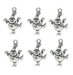 Antiqued Silver Tone Snowmen Charms - Set of 6