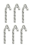 Antiqued Silver Tone Candy Cane Charms - Set of 6