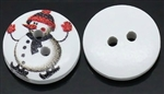 "White Wooden Snowman Buttons - Set of 4 15mm( 5/8"")"