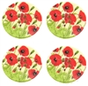 "4 Floral Decorated Wooden Buttons - 1.18"" Set of 4"