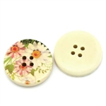 "Floral Decorated Wooden Buttons - 1.18"" Set of 4"