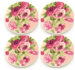 Multicolor Flower Pattern Wooden Buttons - 1.18""