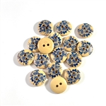 Floral Decorated Wooden Buttons - 15mm, Set of 4