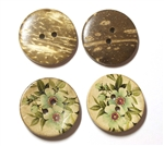 Carved Coconut Shell Buttons - 1 1/8""