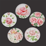 Rose Glass Dome Cabochons - Set of 5